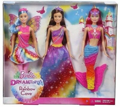 New Mattel Barbie Dreamtopia 3 Doll Gift Set Rainbow Cove Princess Mermaid Fairy