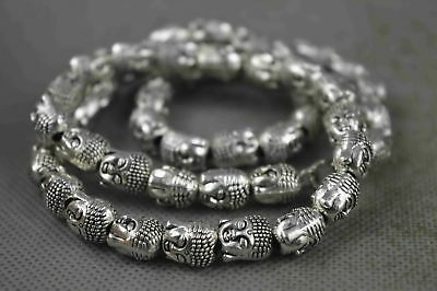 China Collectable Handwork Old Miao Silver Carve Gracious Buddha Lucky Necklace