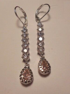 Natural 2ct Pink & White Sapphire Earrings 925 Sterling Silver Leverbacks  #87