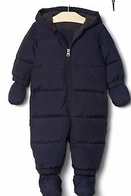 Baby Gap Down Snowsuit Puffer Unisex Lot With Hat 0-6months Nwot