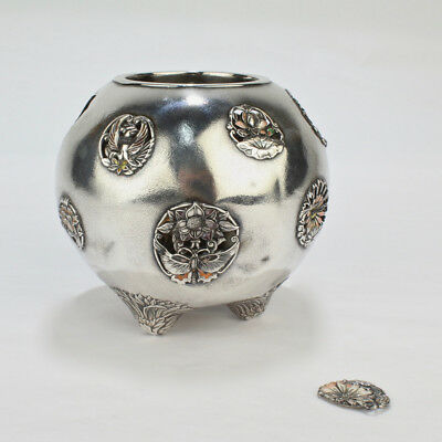 Antique Signed Japanese Sterling Silver and Enamel Koro For Repair - SL