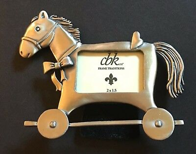 CBK Easel Picture Frame Traditions Pewter Rolling Horse Baby Child