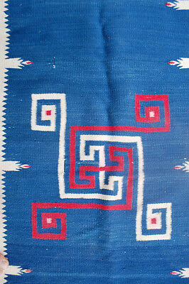 Old Navajo Indian or Mexican Saltillo blanket Whirling Log wool handwoven