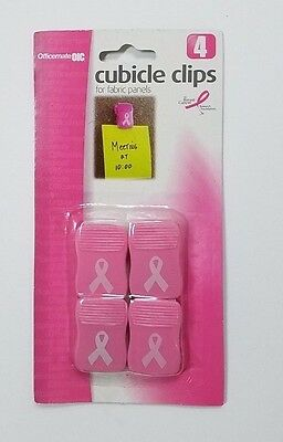 Officemate Pink Breast Cancer Awareness  Cubicle Clips,  Pack of 4