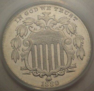 PCGS PR63 CAC OGH 1880 Shield Nickel Proof Key Date 5C Very Choice for the Grade