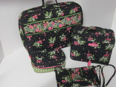 Lot Of Vera Bradley Black New Hope 4 Pcs Crossbody Wallet Briefcase Cosemetic