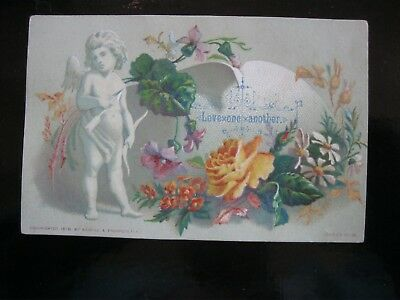 Victorian Trade Card CHERUB Angel Religious Christian Bible Love One Another 40