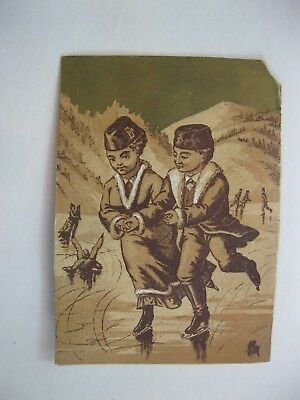 Victorian Trade Card 1800's Russian Children Ice Skating Mountain    40