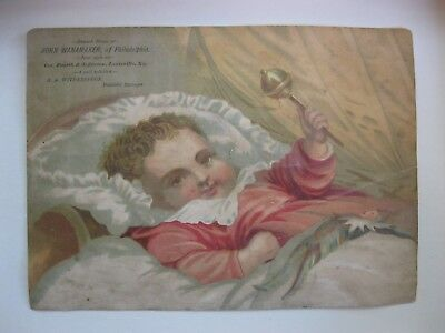 Victorian Trade Card 1800s John Wanamaker H A Witherspoon Baby Bed Rattle  40