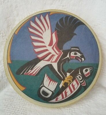 Signed Native Eagle Catching Salmon Drum