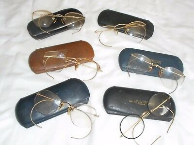 Antique Vintage Eye Glasses Spectacles B&L + !0K 12K GF & Other Lot of 6
