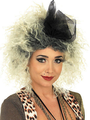 Ladies 80's Madonna Short Blonde Wig With Attached Net Bow Fancy Dress Wig