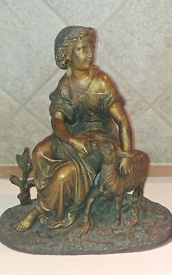 """Vintage Pot Metal Statue of Woman with her sheep 12"""" Tall Great Patina"""