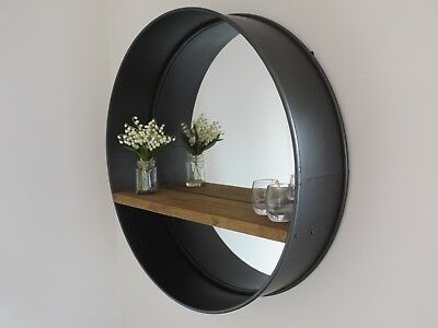 Industrial retro urban loft wall mounted round metal mirror shelve