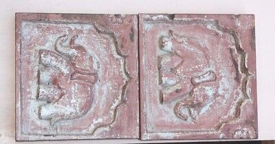 1800's Old Vintage Real Antique Rare Wooden Elephant Wall Panel Pair PE-34