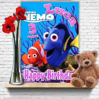 Extra Large Finding Nemo Dory Personalised A4 Birthday Card Fast