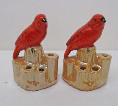 Pair of Vintage Made in Japan Bird Flower Frogs