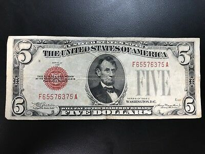 1928 C Five Dollar Bill $5 * RED SEAL * United States Note *