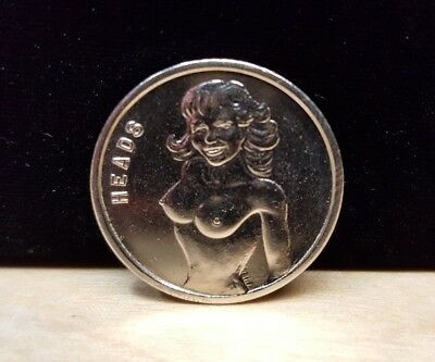 """Vintage ~ Nude Female """"Heads or Tails"""" Chance Flip Coin"""