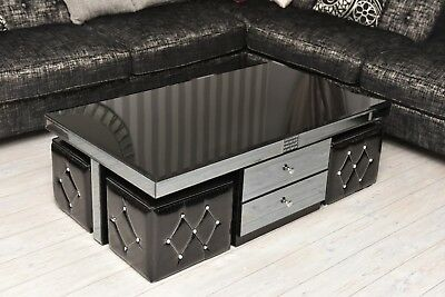 Modern Black Coffee Table Glass Drawers High Gloss Storage Stool