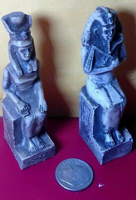 2 Egyptian Statues King Tutankhamun & Isis Goddess of Marriage, Read Description