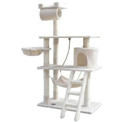 Cat Kitten Grooming Scratching Tree Post Gym Furniture Tower Ladder Pouch Beige