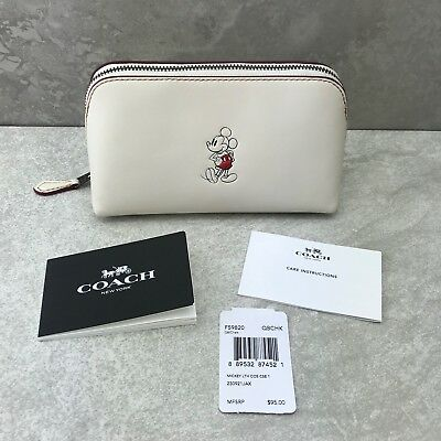New Coach F59820 Mickey Mouse Cosmetic Makeup Case Chalk Calf Leather Disney X