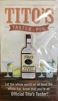 Tito's Handmade Vodka Official Taster Pin 2017 Holiday Gift Cocktail NEW