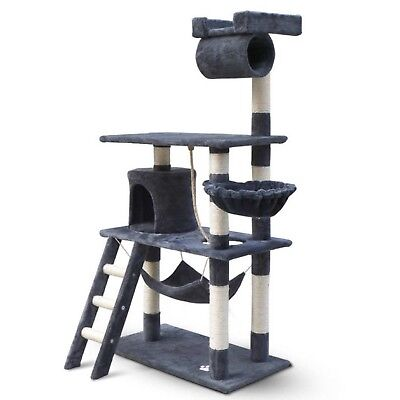 Cat Kitten Grooming Scratching Tree Post Gym Furniture Tower Ladder Pouch Grey