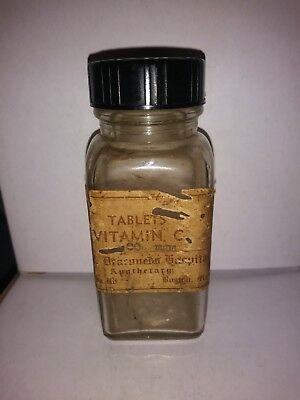 ANTIQUE APOTHECARY BOTTLE VITAMIN C 100mg N.E. DEACONESS HOSPITAL, BOSTON, MASS.