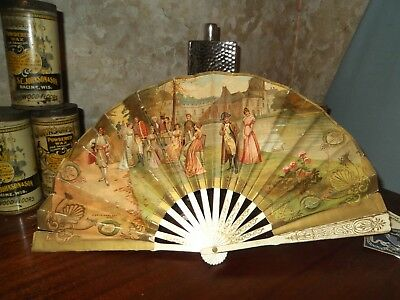 Antique Cafe Martin New York City Advertising Paper Fan