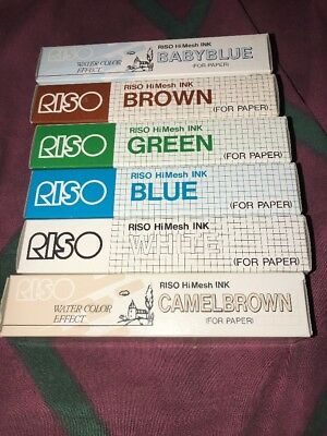 RISO hi Mesh Ink For Paper Camel Brown Blue White Green Brown Baby Blue Lot 1a