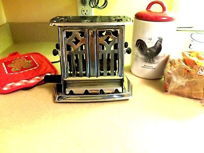 Vintage Manning Bowman Chrome Plated Steel WORKING Toaster Pat.1926 EXCELLENT