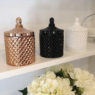 Soy Wax Candle Jar   Geo   Black White Rose Gold    40 Hrs   J Serenity  