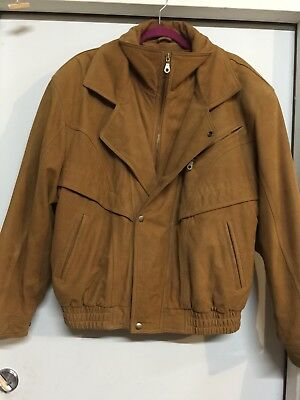 Lucky Brand Men's Leather Jacket, Brown Xl) padded with suede rear very high end