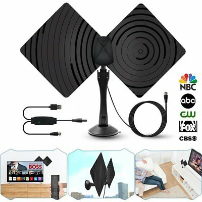 High Gain Amplified Digital TV Antenna Indoor HDTV Amplifier VHF UHF 50 Miles