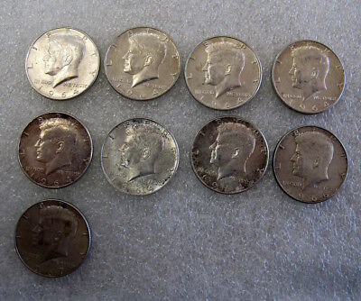 lot of 9 NINE Silver Kennedy 1964 1966 1967 Half Dollars 110 grams