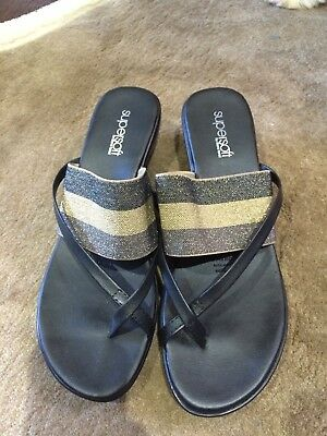 Size 8 Ladies Diana Ferrari Super Soft Black And Gold Leather Shoes Brand New