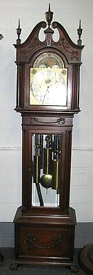 Carved Mahogany Elliott 9 Tube Grandfather Clock