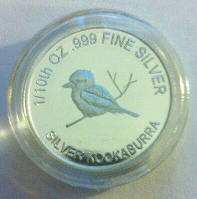 "1/10th Oz 99.9% Pure Silver Bullion Coin, ""Kookaburra"" (Aust Series) 14 to Col."