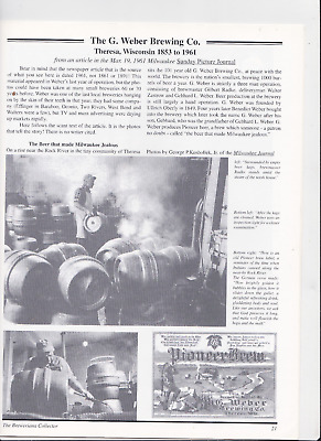Brewery History Article For G. Weber Brewing Co. & Prohbition In Joliet,il