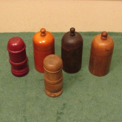 5-antique wooden treen ware lidded containers