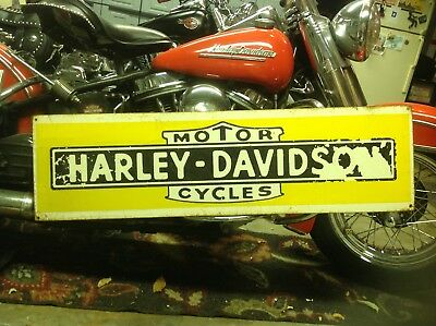 VERY RARE EARLY 1930s  HARLEY DAVIDSON DEALER SIGN jd  knucklehead panhead