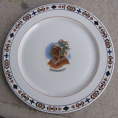"""Antique Shenango 10 1/2"""" Sippewissett Plate Made Chas. R. Lynde Boston"""