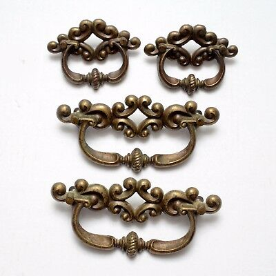 Set of 4 Vintage Brass Drawer Pulls Cabinet Handles Furniture Hardware Victorian