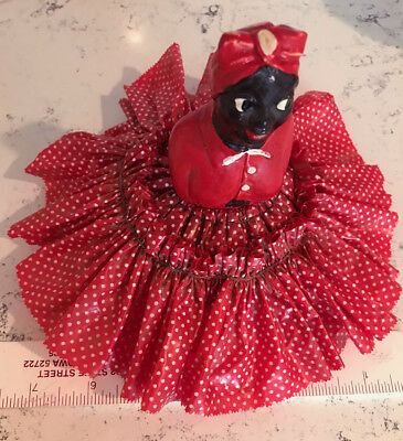 Vintage Cute African Americana doll or appliance cover~RARE PLASTIC SKIRT~