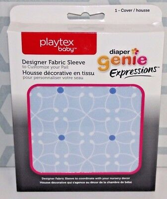 DIAPER GENIE Expressions Playtex Baby, Designer Fabric Cover Sleeve, Blue Tile