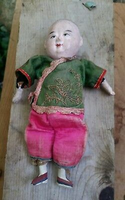 """Antique Chinese Composite Doll Silk Clothes Embroidered painted face 7"""""""