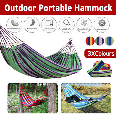 Outdoor Double Rope Hammock Bed Swinging Camping Durable Hanging Tree Strap Hook