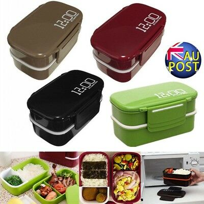 Microwave Lunch Bento Box Picnic Food Container Large Storage Spoon Fork Office